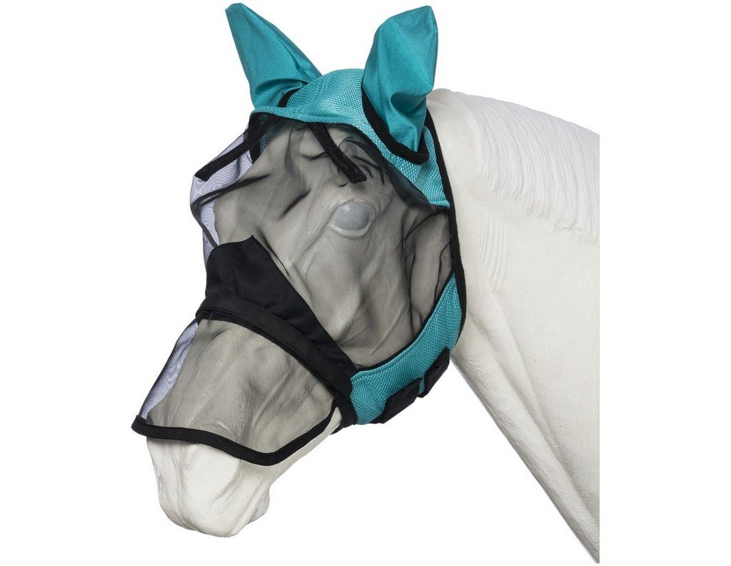 Tough 1 Deluxe Comfort Mesh Nose Fly Mask Turq