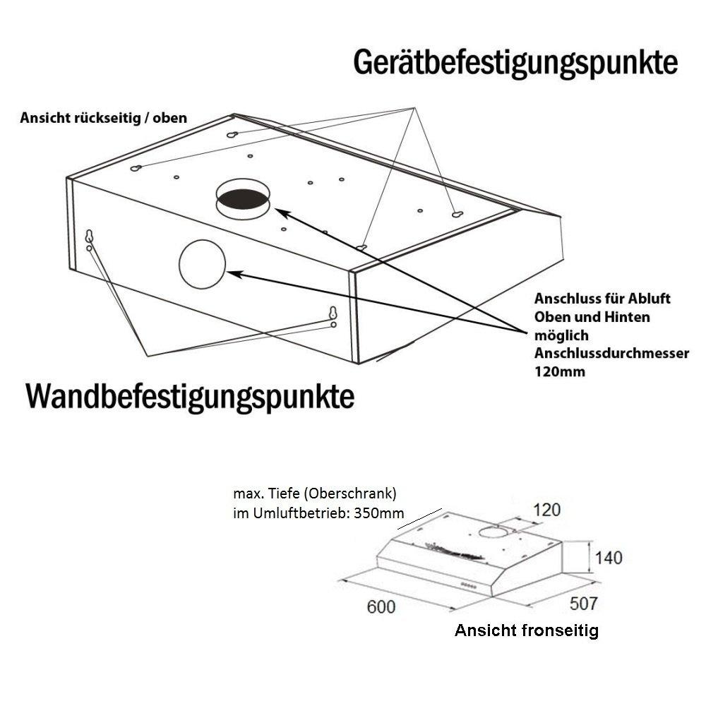 NEG Dunstabzugshaube NEG15 (silber) Edelstahl Unterbau Haube (Abluft/Umluft)  Mit LED Beleuchtung, 60cm Fuer Unterschrank  Oder Wandanschluss: Amazon.de:  ...