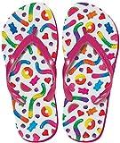 iscream Women's 'FunPrints' Beach Flip Flops - Yummy Gummies, Large