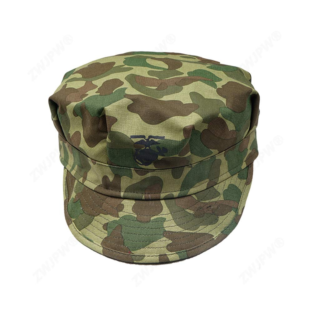 order many fashionable great fit WW2 US HBT USMC Pacific Camouflage Marine Corps Cap Hat Replica (60CM)