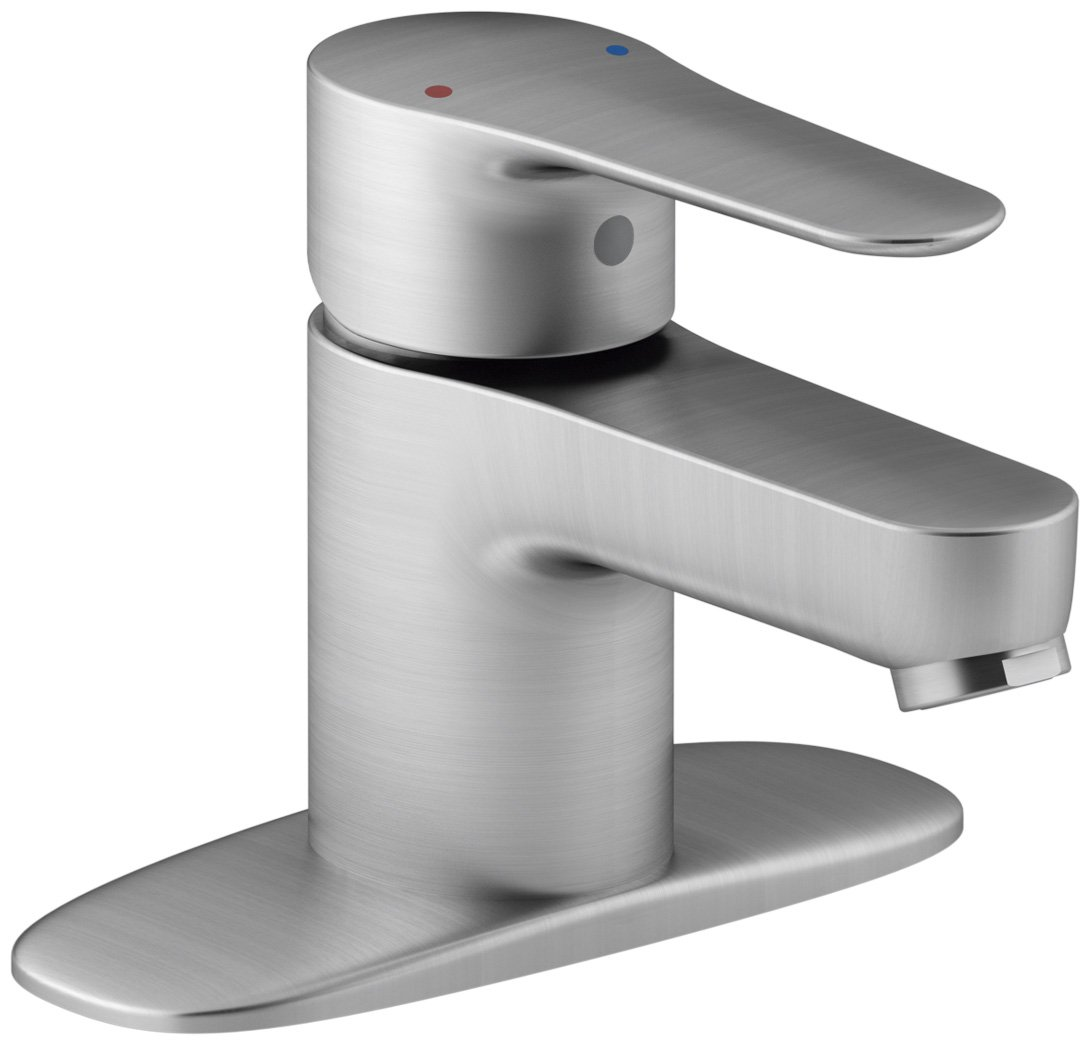 KOHLER K-98146-4-G July Single Handle Bathroom Sink Faucet with Escutcheon, Polished Chrome by Kohler