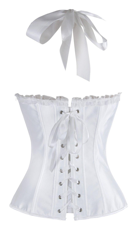 a6b8186c1f0 Charmian Women s Burlesque Fashion Satin Halter Boned Zipper Bustier Corset  Top   Bustiers   Corsets   Clothing