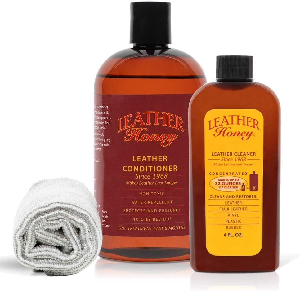 Leather Honey Leather Conditioner & Cleaning Kit For Use on Leather Apparel, Furniture, Auto Interiors, Shoes, Bags and Accessories. 16oz Conditioner, Concentrated Cleaner and a Lint-Free Cloth