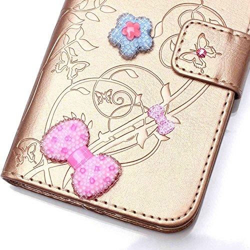 JIALUN-Personality teléfono shell Funda Samsung Galaxy J1, funda de cuero de la PU, caso del soporte de la caja plegable de la caja de la correa del diseño del libro de la resina del Rhinestone para S Golden