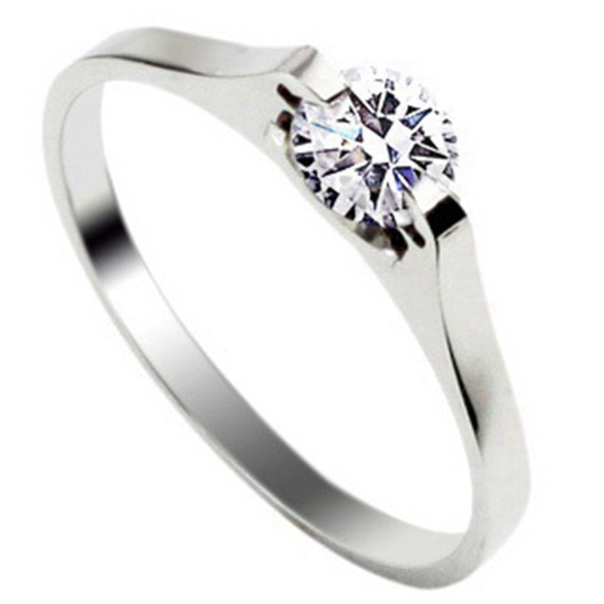 Stainless Steel Ring With Inlay Diamond For Girls Silver Tone Supreme glory ring0905A37