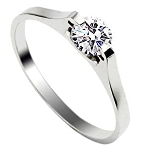 Stainless Steel Ring With Inlay Diamond For Girls Size5 Silver Tone