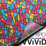 VViViD Multicolor Stained Glass Shard Privacy Frosted Stained Glass Decorative Window Film for Bathroom, Kitchen, Home, Office Easy to Install DIY (36'' x 6.5ft)