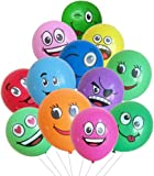 Fun Balloons Smiley Face Latex Balloons 12PCS Assorted Colors for Parties Wedding Birthday Decoration and Events (Multicolor)