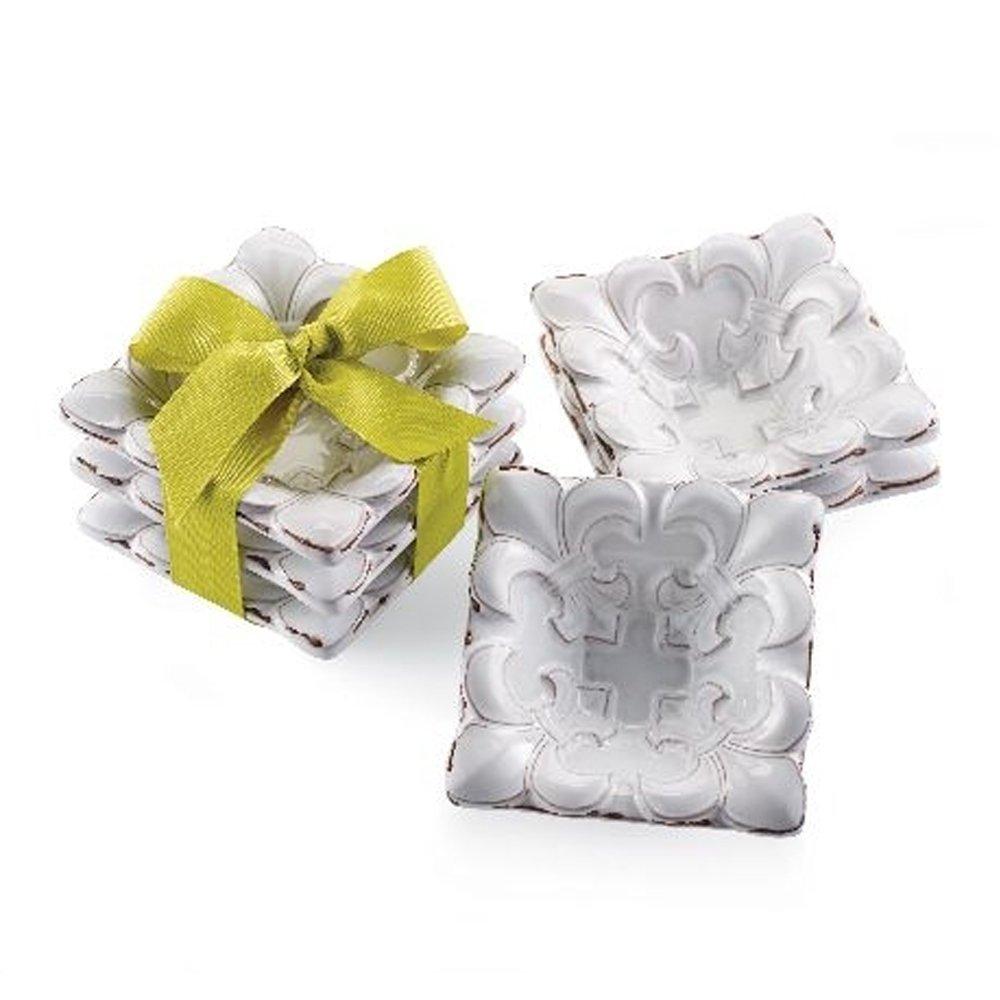 Amazon.com: Mud Pie Merci Fleur de Lis Mini Terracotta Dip Bowls ...