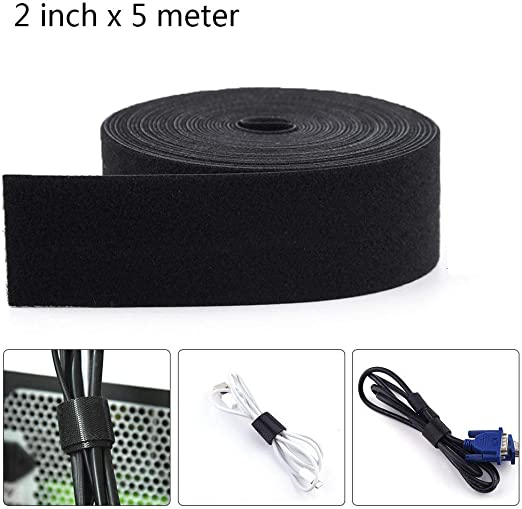 2 x 8 Meter Roll Counting Mars Fastening Tape Cable Tie Double-Sided Self Gripping Multi-Purpose Hook and Loop Tape Black Reusable