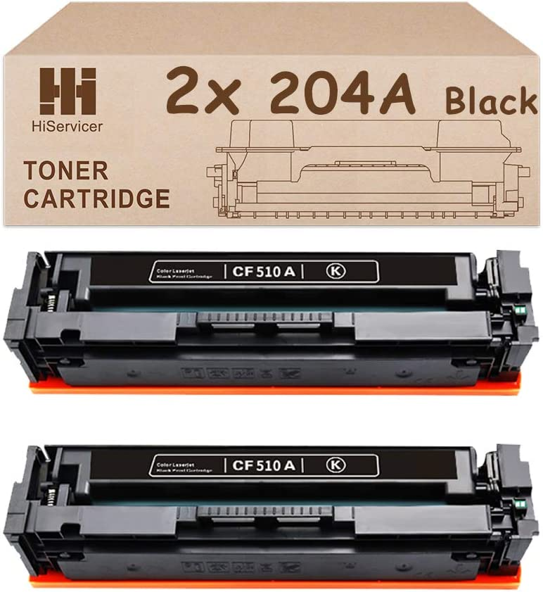 HiServicer Compatible Toner Cartridge Replacement for HP 204A Compatible CF510A Black for Color Laserjet M180nw M154a M181fw Printers (2xBlack)