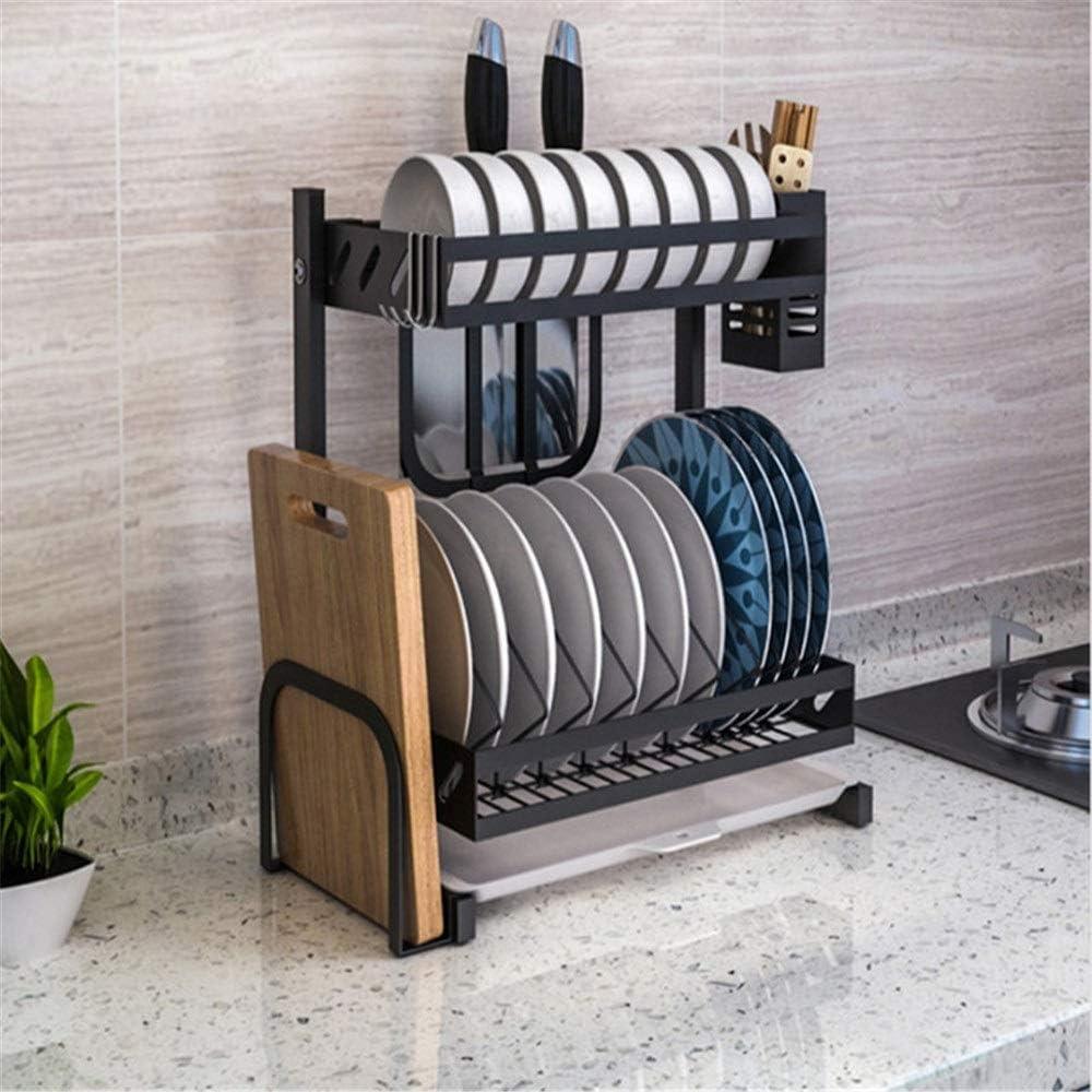 水切りラック ボードブラケット2つのレイヤーをカットして耐久性のあるステンレススチールディッシュドレン乾燥棚カトラリー大容量ラック キッチン用品 収納棚 (Color : Black, Size : Free size)
