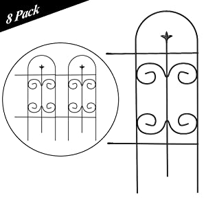 Amagabeli Garden Fence 32in x 10ft Decorative Garden Fencing Rustproof Black Iron Border Fence Panel Edging Metal Wire Fencing Animal Barrier for Outdoor Patio Vinyl Flower Bed Vegetable Folding Fence