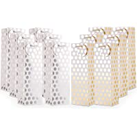 UNIQOOO 12PCS Metallic Gold Sliver Foil Champagne Wine Gift Bags Bulk with Handles and Gift Tags, Polka Dots Single…