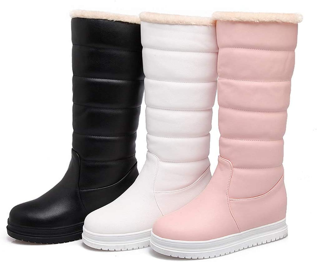 DANDANJIE Womens Winter Warm Boots Mid-Calf Boots Waterproof Snow Boots Black White Pink