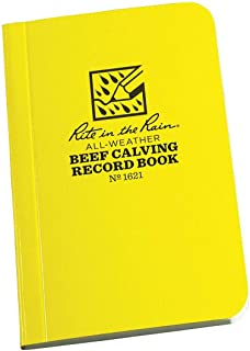 """product image for Rite in the Rain Weatherproof Beef Calving Record Notebook, 3"""" x 4 5/8"""", Yellow Cover (No. 1621)"""