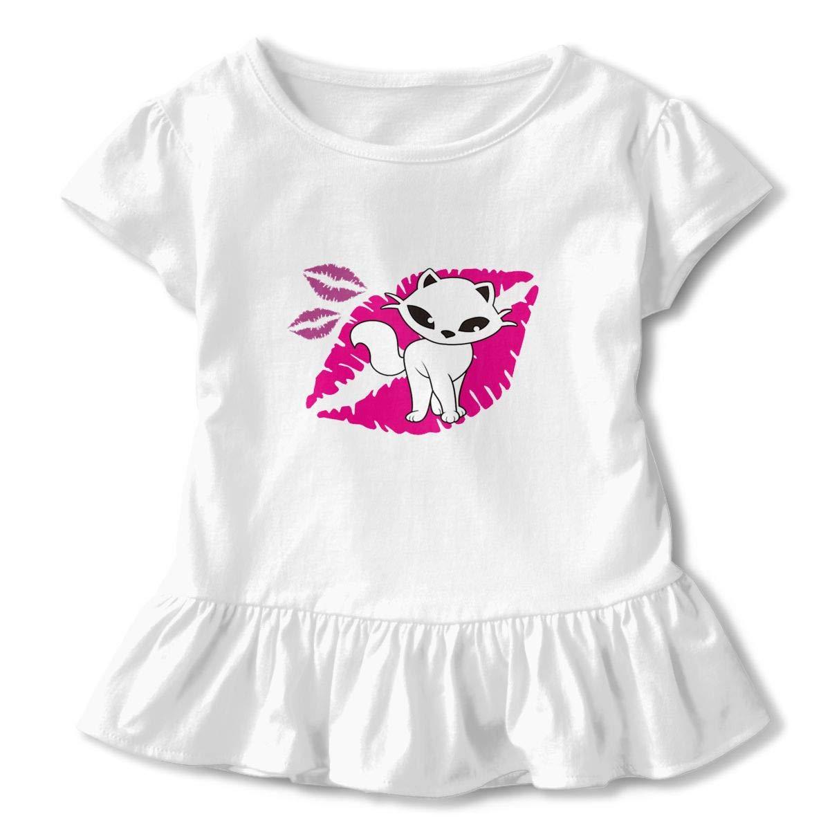 Kiss Kitty Cat Toddler Girls T Shirt Kids Cotton Short Sleeve Ruffle Tee