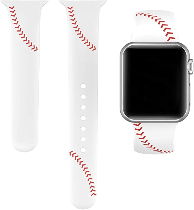 Yutior Sport Bands Compatible with iWatch 38mm 40mm, Slim Soft Silicone Men Women Large Small Wristbands Baseball Strap for Apple iWatch SE Series 6 Series 5, 4, 3, 2, 1, Sport & Edition White