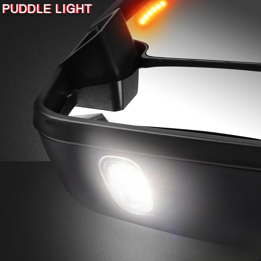 SCITOO fit Chevy GMC Towing Mirrors Puddle Lights Black Rear View Mirrors fit 2007-2013 Silverado//Sierra 07 Clearance Turn Signal Power Controlling Heated 065189-5206-1415405101