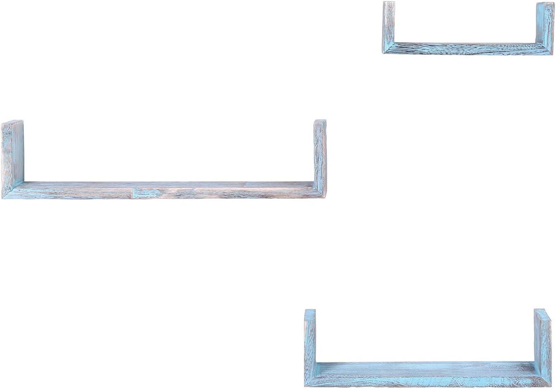Moyennes et Petites Tablettes de Ferme pour Chambre /à Coucher Grandes Comfify Tablettes flottantes rustiques murales en Forme de U Vis et Chevilles incluses Lot de 3 Salon et Plus