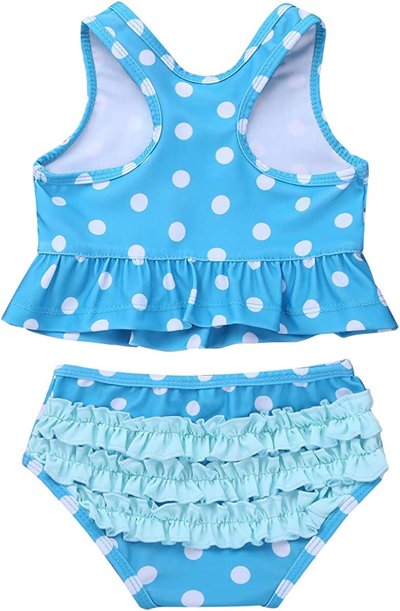 YiZYiF Baby Girls 2-Piece Swimsuit Princess Polka Dot Ruffles Peplum Tankini Swimwear Bathing Suit