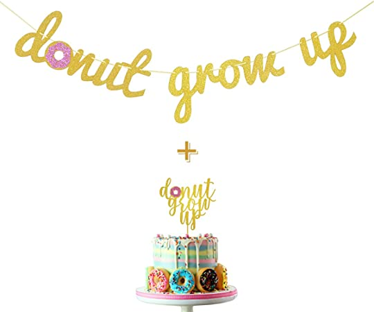 Donut Grow Up Banner  Gold Glitter Donut Party Centerpiece  Boys Donut Grow Up Backdrop  Blue and Mint Donuts  Donut Party Decoration
