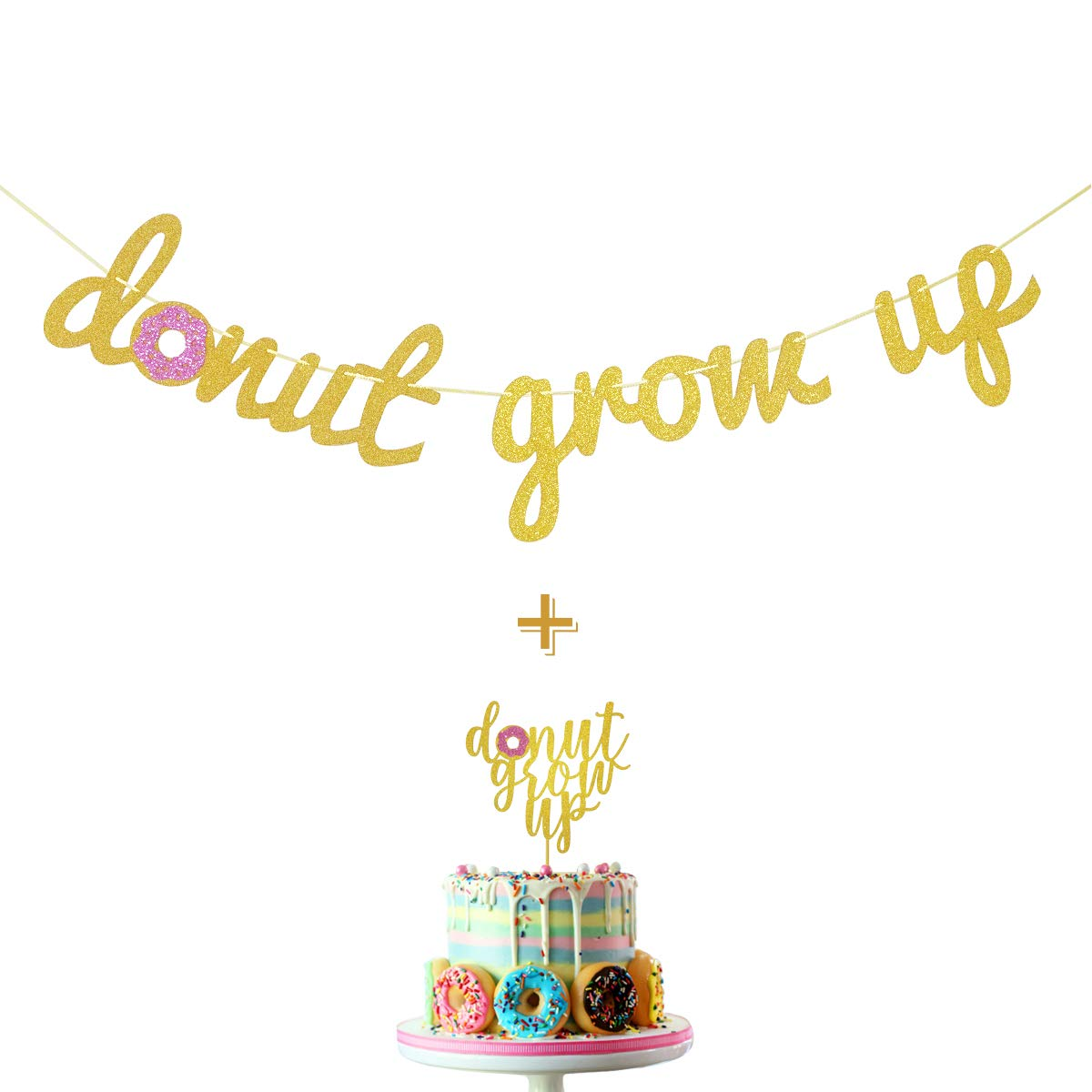 Donut Grow Up Gold Glitter Banner and Donut Grow Up Cake Topper for Donut Themed Happy Birthday Party Supplies Decorations by Fadilo