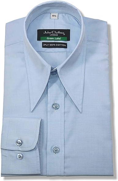 WhitePilotShirts Hombre Spear Point Vintage Cuello de Camisa Azul Cielo Algodón 1930s WWII Corte Clásico Hombre Nuevo de 1930 Años 1940: Amazon.es: Ropa y accesorios