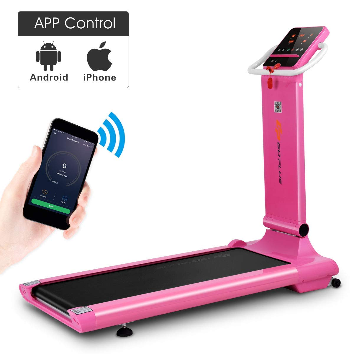 Goplus 1.5HP Electric Folding Treadmill Portable Motorized Running Machine Home Gym Cardio Fitness w/App (Pink) by Goplus (Image #1)