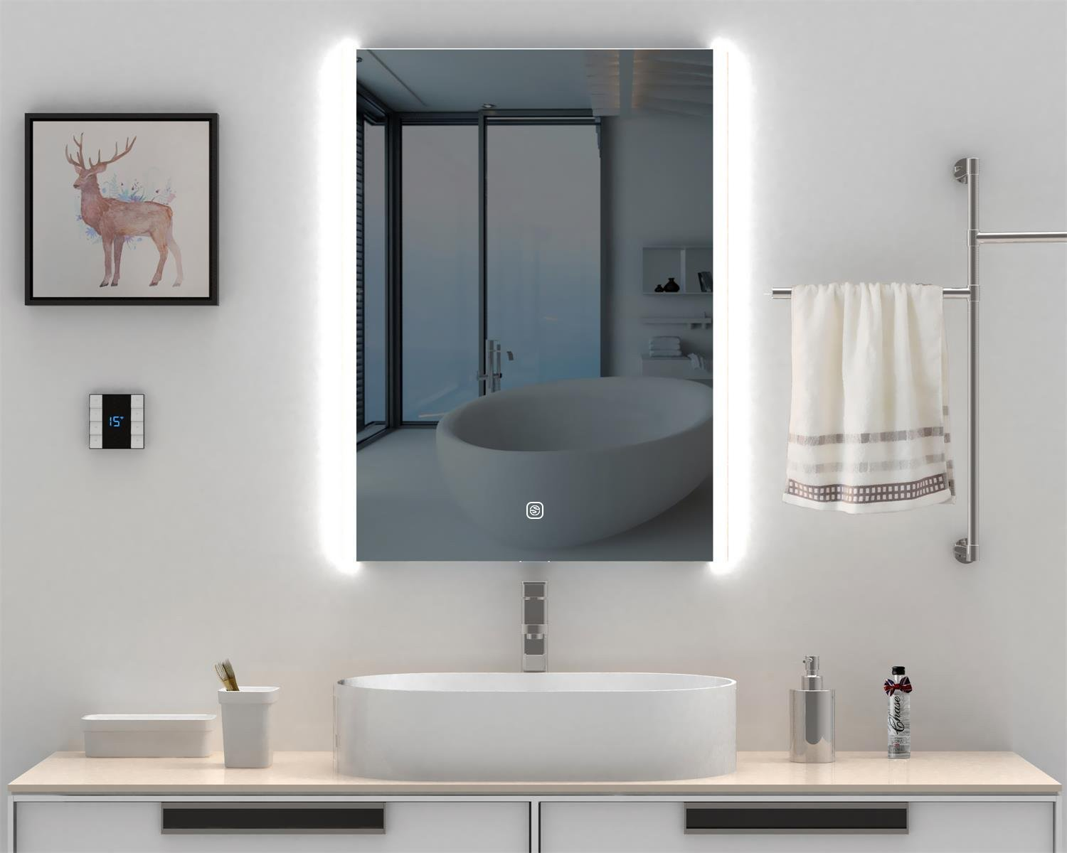 HEYNEMO 32''x24'' Bathroom LED Lighted Vanity Mirror Wall-Mounted Makeup Mirror, LED Lights Vanity Dimmer Touch Switch Waterproof Illuminated Mirror for Home Multipurpose, ONE-Year Warranty