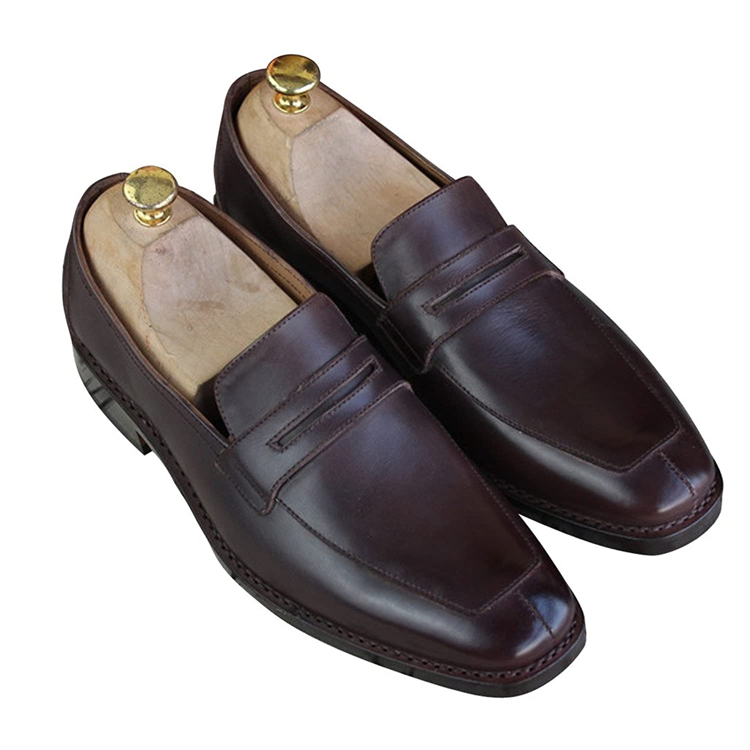 On Sale Mens Genuine Leather Custom Made Goodyear Handmade Loafers Business Shoes Brown - Www ...