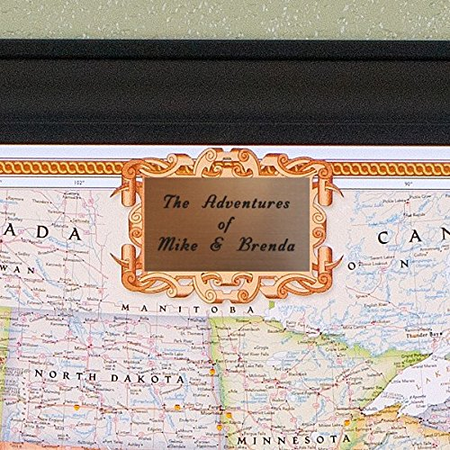 Personalized Executive US Push Pin Travel Map with Black Frame and Pins 24 x 36 by Push Pin Travel Maps (Image #4)