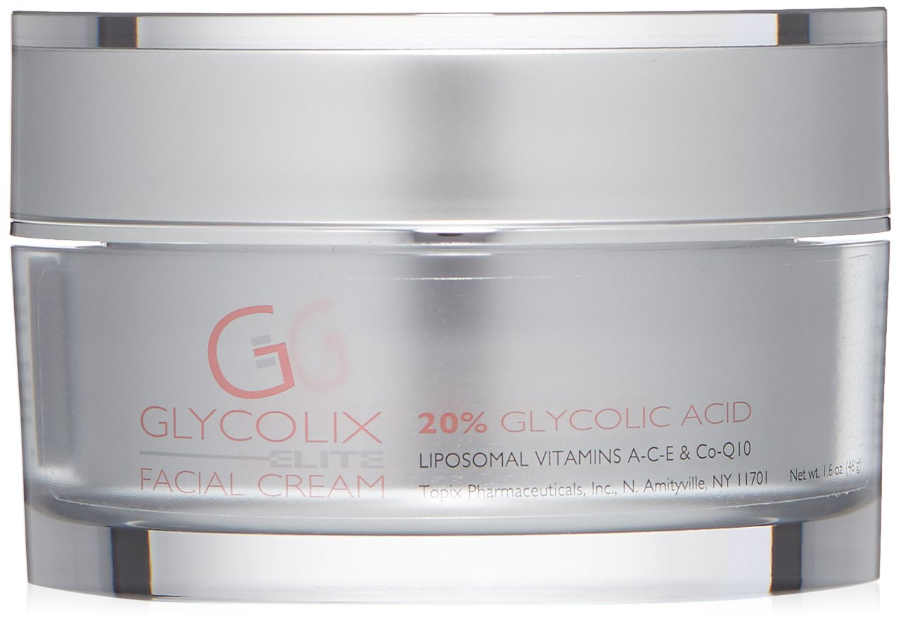Glycolix Elite 20% Glycolic Acid Face Cream, Exfoliating Face Moisturizer for Acne, Fine Lines, Wrinkles, and Age Spots, 1.6 oz