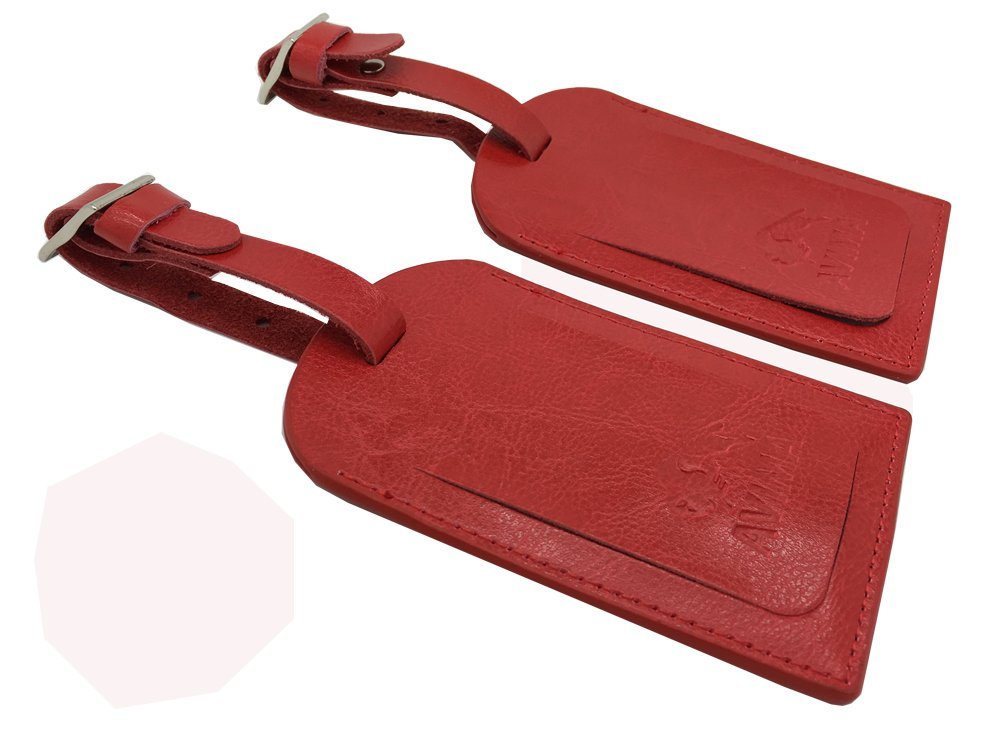 Leather Luggage Tag by AVIMA | Bag Tags Suitcase Tags Identifiers Travel Tags 2pc - Brown 10471581