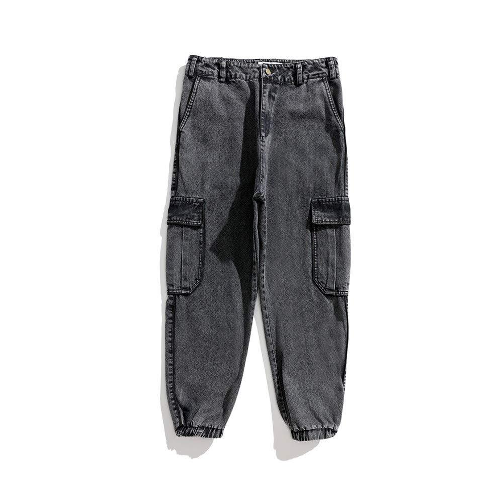 EVEORSSRA Jeanshosen Herbst Füße Jeans lose dünne Retro Old Street Tide Boy große Tasche Haren Overalls