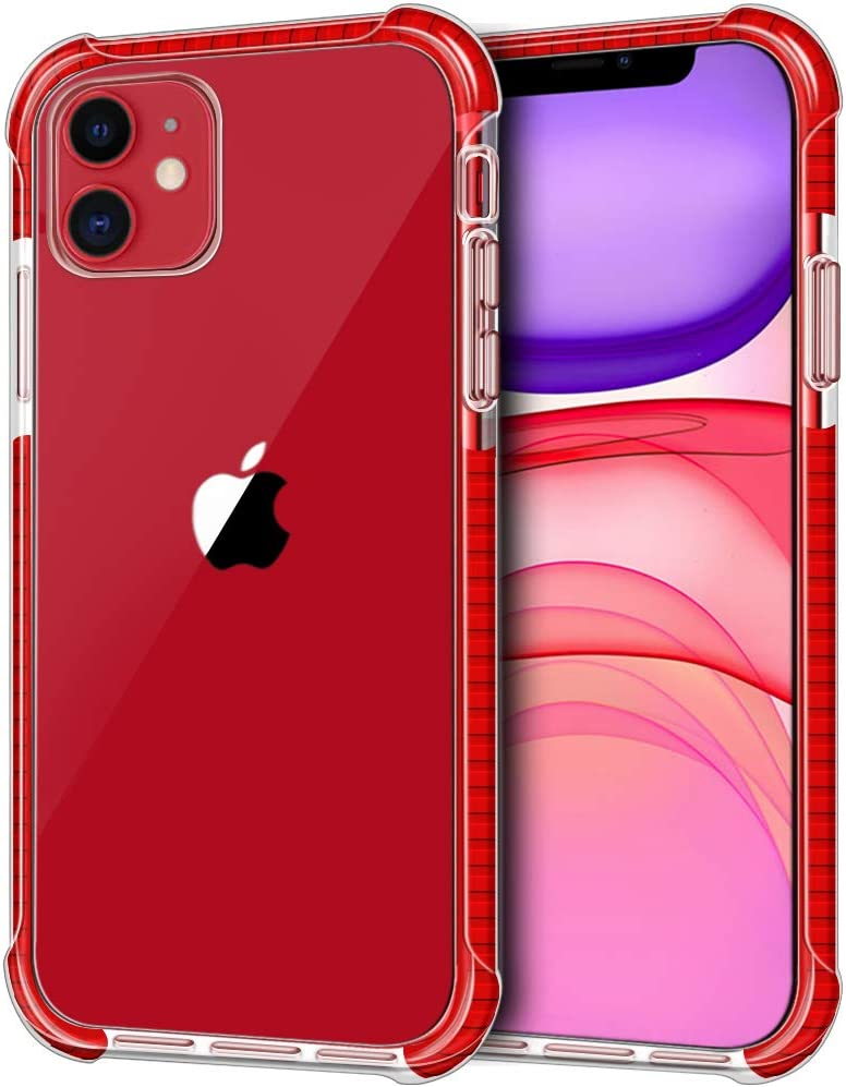 """LOEV Crystal Clear Case for iPhone 11, Shockproof Slim Fit Protective Case with 4 Corners Drop Protection Cushion Anti-Scratch Hard PC + Soft TPU Bumper Cover for Apple iPhone 11 6.1"""" 2019, Red"""