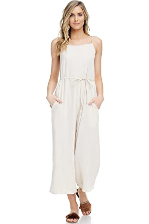 1377c333200 Amazon.com  A+D Womens Casual Linen Spaghetti Strap Sexy Jumpsuit Rompers  (Natural