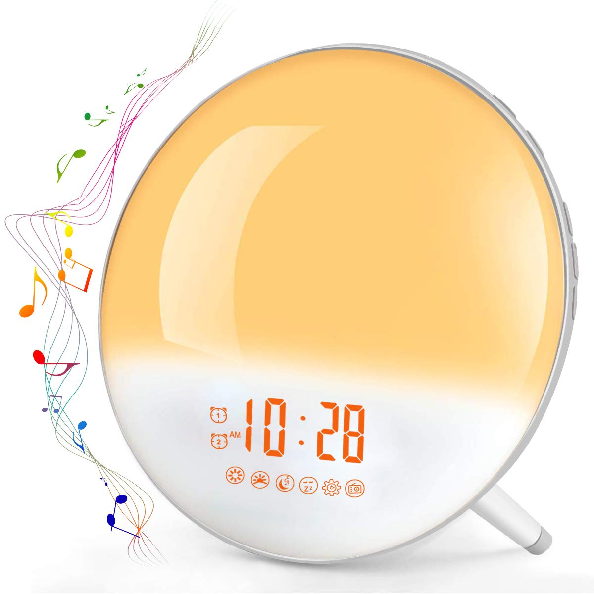 Sunrise Alarm Clock, Te-Rich Wake Up Light with FM Radio/Dual Alarm/7 Nature Sounds & Light Colors/Snooze/20 Brightness, Sleep Aid Lamp Dawn Simulator for Heavy Sleepers/Kids/Teen Girls Boys Bedrooms by Te-Rich