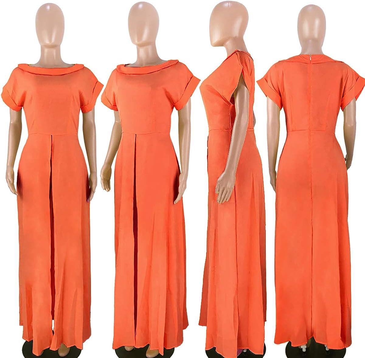 Womens High Low Blouses Short Sleeve Drawstring Asymetrical Summer High Low Shirt Top Orange1
