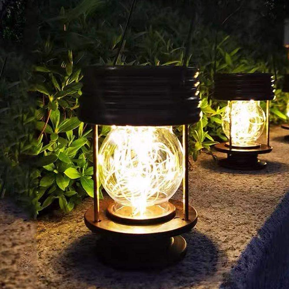 pearlstar Solar Lanterns Outdoor - Hanging Solar Landscape Lights Waterproof Table Lamps with Retro Design, LEDs Fairy Lights for Patio, Garden, Yard, and Pathway Decoration(2 Pack): Home Improvement