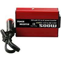Convertidor de Corriente de 500W CC a CA CC 12V a 110V 220V Inversor de Coche de CA con Doble USB Rojo 110V