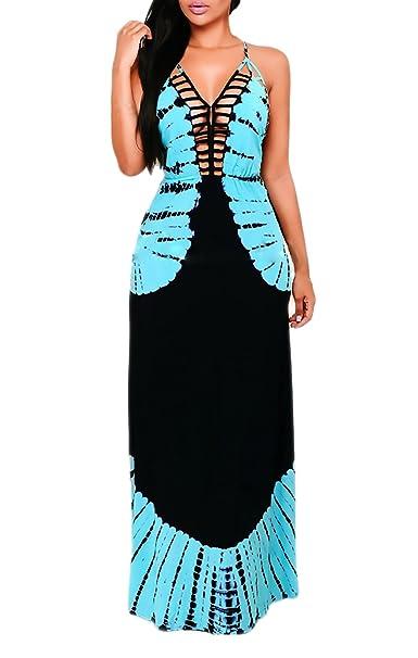 Vestidos Verano Mujer Vestidos Largos Elegantes Moda Casual Vintage Dresses Señoras Moderno Hippies Impresión Sin Mangas V Cuello Espalda Descubierta Playa ...