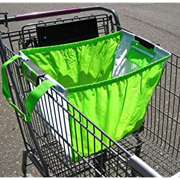 Reusable Trolly Shopping Cart Bag With Universal Clip Green White