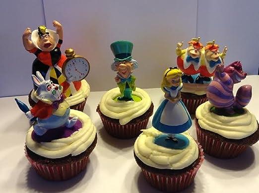 Disney Alice in Wonderland Birthday Cake Topper Set with Decorative Accessories