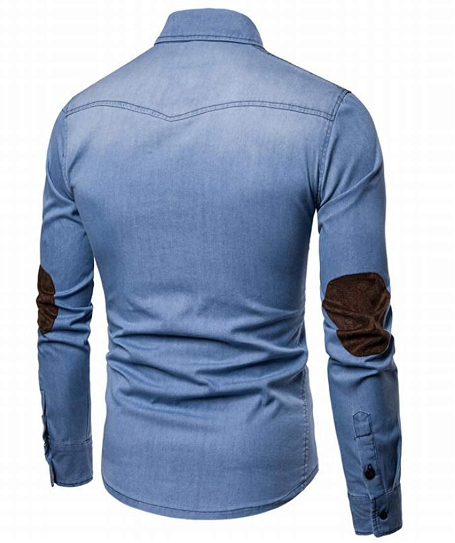 UUYUK Men Vintage Faux Suede Patchwork Long Sleeve Denim Shirt