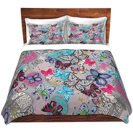 DiaNoche Designs Microfiber Duvet Covers Julie Ansbro Butterflies Grey