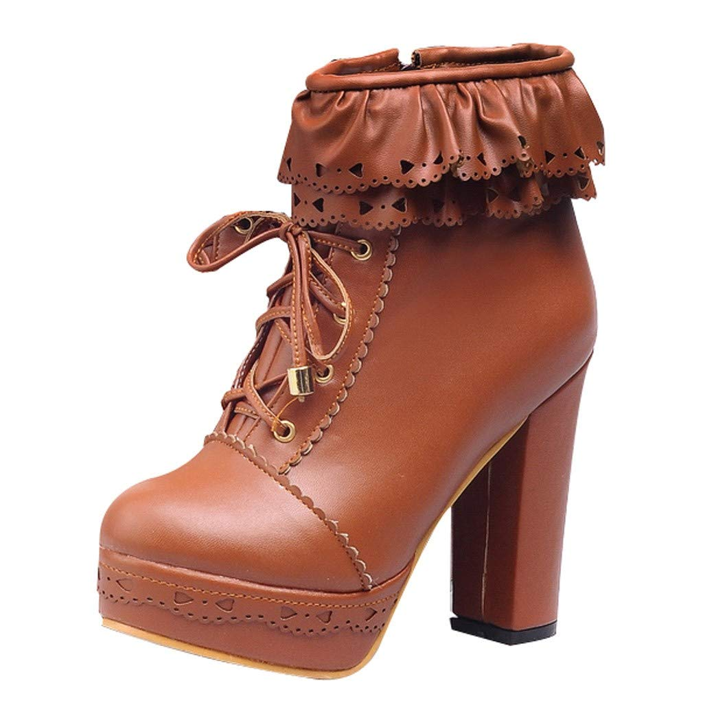 【MOHOLL 】 Women's Lace Up Platform High Heel Ankle Boots Sweet Lolita Shoes PU Leather Ruffle Booties Brown by ✪ MOHOLL Shoes ➤Clearance Sales