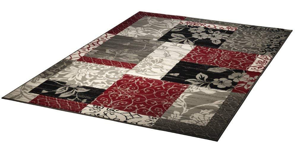 Design Velours Teppich Patchwork Optik Bordüre rot / grau / beige / schwarz 101184, 160 x 230 cm
