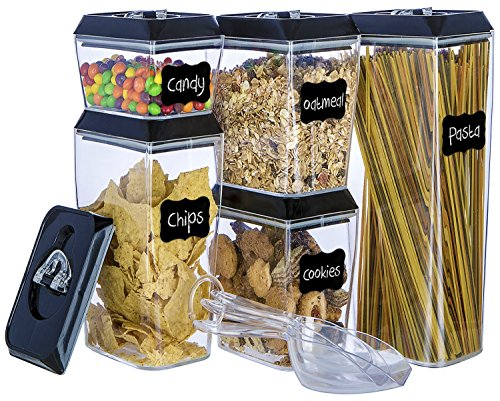 Airtight Food Storage Container Set - Stackable 5-Piece Lid Lock Set with 12 Erasable Chalkboard Labels, 1 Chalk Marker, and 3 Custom Scoops - Durable Plastic - BPA Free - Keeps Food Fresh and (Full Sized Label Set)