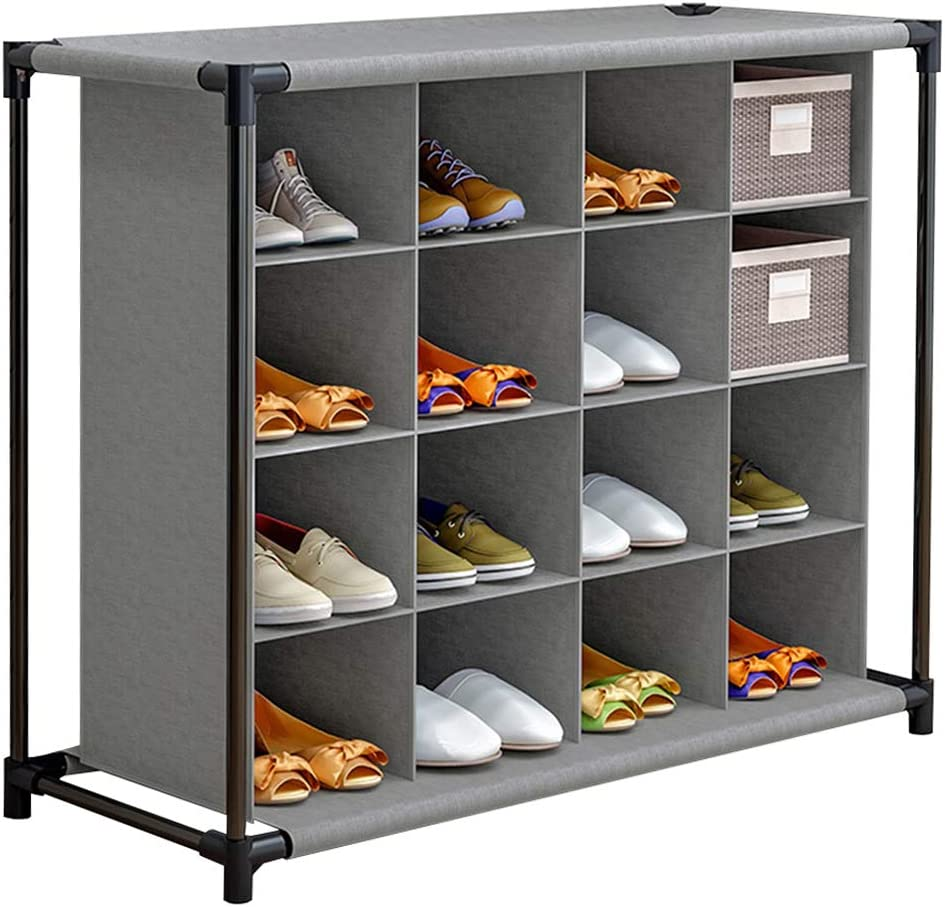 FKUO 4-Tier 16-Pair Shoe Rack Cubby Organizer, Free Standing Shoe Storage Shelf (Gray)